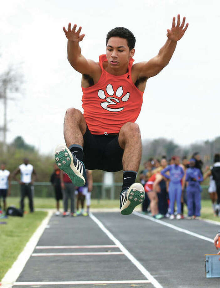 Edwardsville's DeVonte' Tincher, shown competing in the long jump during the Southwestern Illinois Relays on March 24 in Edwardsville, won the 200 meters and took fourth in the long jump Saturday to help the Tigers win the championship at the Collinsville Invitational. Photo: Billy Hurst / For The Telegraph