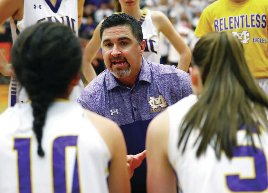 Civic Memorial coach Jonathan Denney, whose team finished 31-3 and advanced to a Class 3A super-sectional, was named Tuesday as the winner of one of the Illinois Basketball Coaches Association's 2017 Coach of the Year awards. Photo: Telegraph Photo