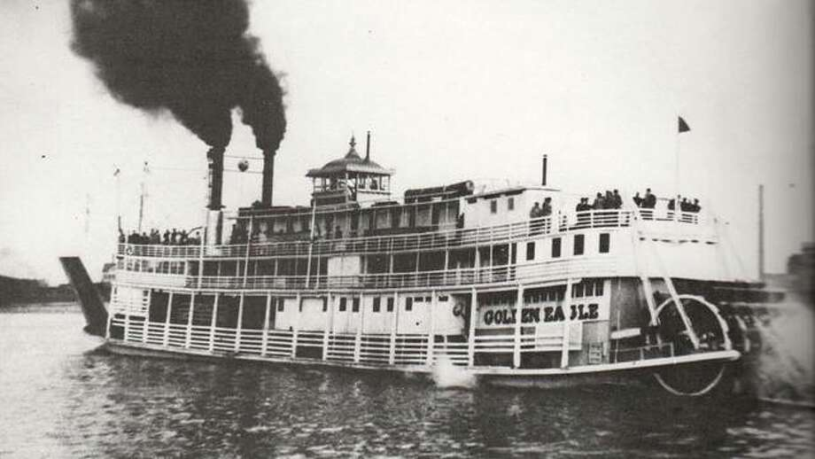 The Eagle Packet Company originated in Quincy, but moved to Alton in 1874 in an effort to increase business. The Eagle Packet Co. was successful in competing with local lines and soon had four steamers operating on the Mississippi out of Alton. The Golden Eagle was the final wood hull, sternwheel steamboat to ply the Mississippi. She served as an excursion boat when the packet trade was no longer profitable. The boat sank at Grand Tower in 1947. The pilothouse was salvaged and is part of a display in the Jefferson Memorial Museum in St. Louis. Photo: File Photo