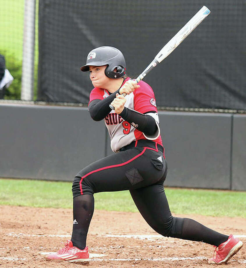SIUE's Tess Eby ht a two-run homer in the fifth inning Wednesday, lifting the Cougars to a 4-1 win over Eastern Kentucky in the first round of the Ohio Valley Conference Tournament in Oxford, Alabama. Photo: SIUE Athletics File Photo