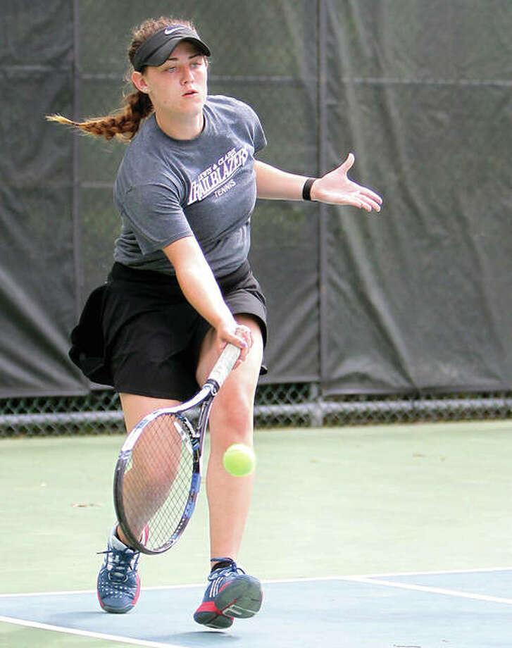 LCCC's Anna Ballard won her first match at the NJCAA National Tennis Finals in Tuscon, Ariz., before bowing in her second-round match. Ballard is a freshman from Roxana.