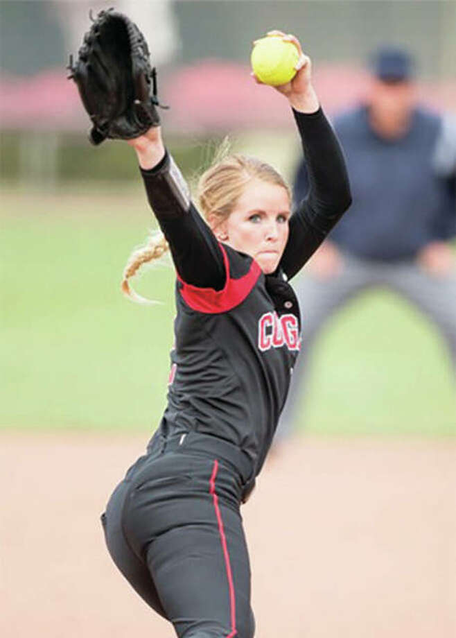 Senior pitcher Haley Chambers-Book set a SIUE softball record with 979 career strikeouts while leading the Cougars to a 43-13 season and earning Ohio Valley Conference Pitcher of the Year honors. Photo: SIUE Athletics