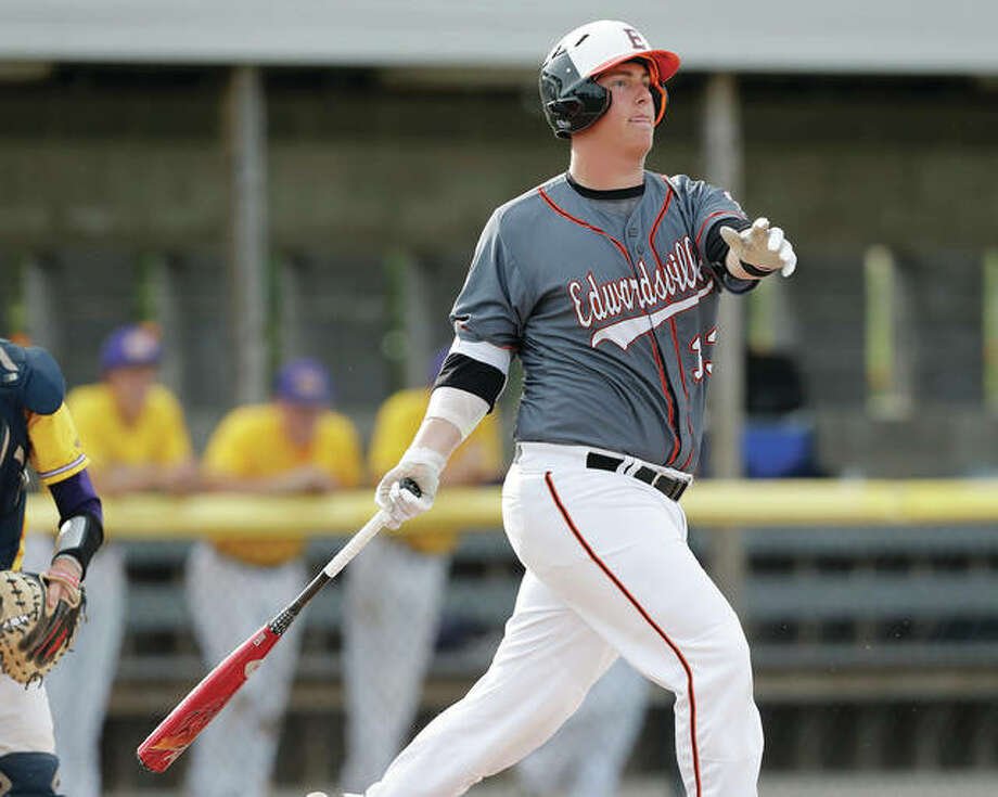 Edwardsville freshman Drake Westcott follows through on a swing during an at-bat in the Tigers' 9-0 victory over Civic Memorial on Monday at the Bethalto Sports Complex. Westcott, the SWC's leader in RBIs and home runs, has already committed to play college baseball at Louisville. Photo: Billy Hurst / For The Telegraph