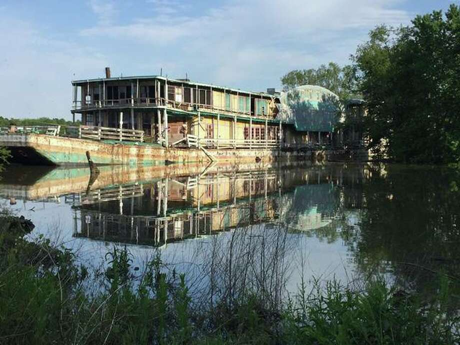 The Goldenrod Showboat, seen here near peak flood last week, took on several feet of water due to a gash in its hull. Critical sections preservationists hope to save were unaffected by the flood, however. Photo: For The Telegraph