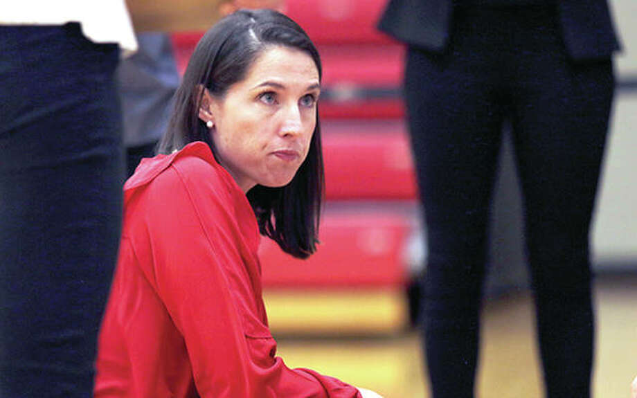 SIUE volleyball coach Leah Johnson's Cougars, coming off a 22-8 record and an appearance in the Ohio Valley Conference Tournament championship match last season, have scheduled 14 home matches for the Vadalabene Center. Photo: SIUE Athletics