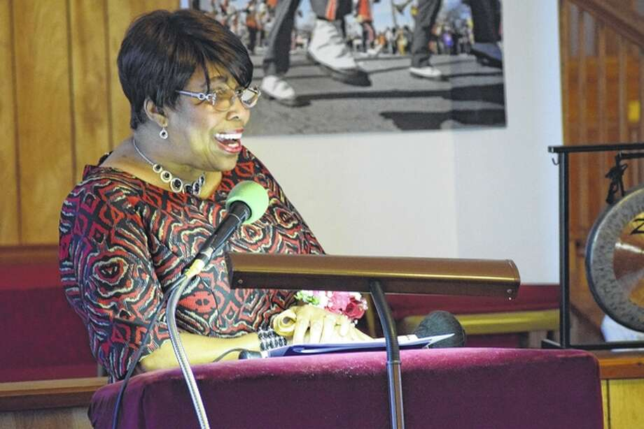 "Doris Robinson of Jacksonville gives a powerful recitation of Dr. Martin Luther King Jr.'s last sermon, ""The Drum Major Instinct,"" Monday at Mt. Emory Baptist Church Photo: Nick Draper 