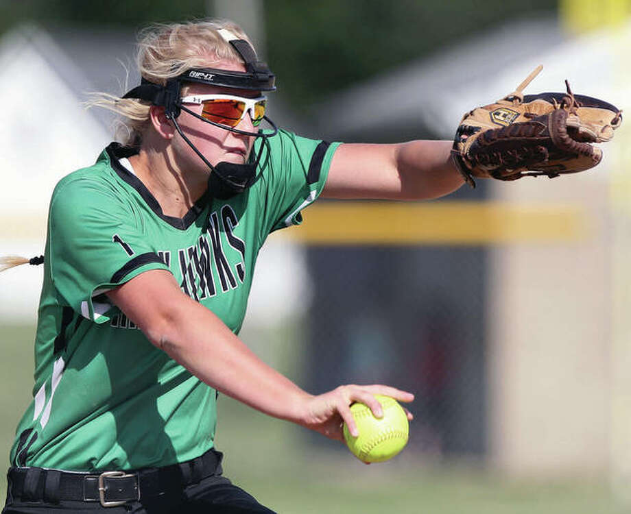 Carrollton's Emmie Struble delivers a pitch against Greenfield-Northwestern Tuesday in Winchester. Photo: Dennis Mathes, Journal Courier