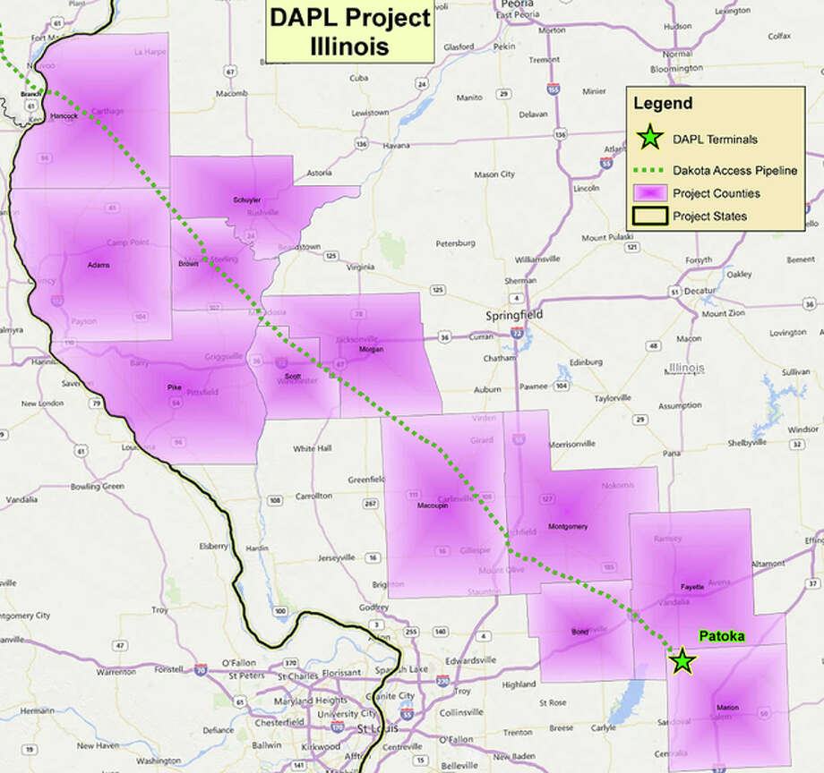 Purple areas on the map designate the counties that will be involved in a 1,130-mile-long oil pipeline on its way through Illinois.