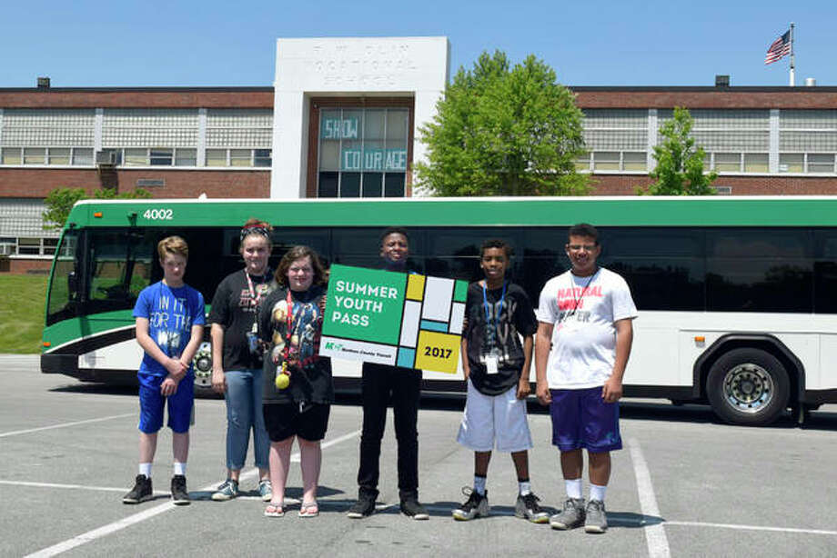 Alton Middle School students promote MCT's Summer Youth Pass program. Photo: For The Telegraph