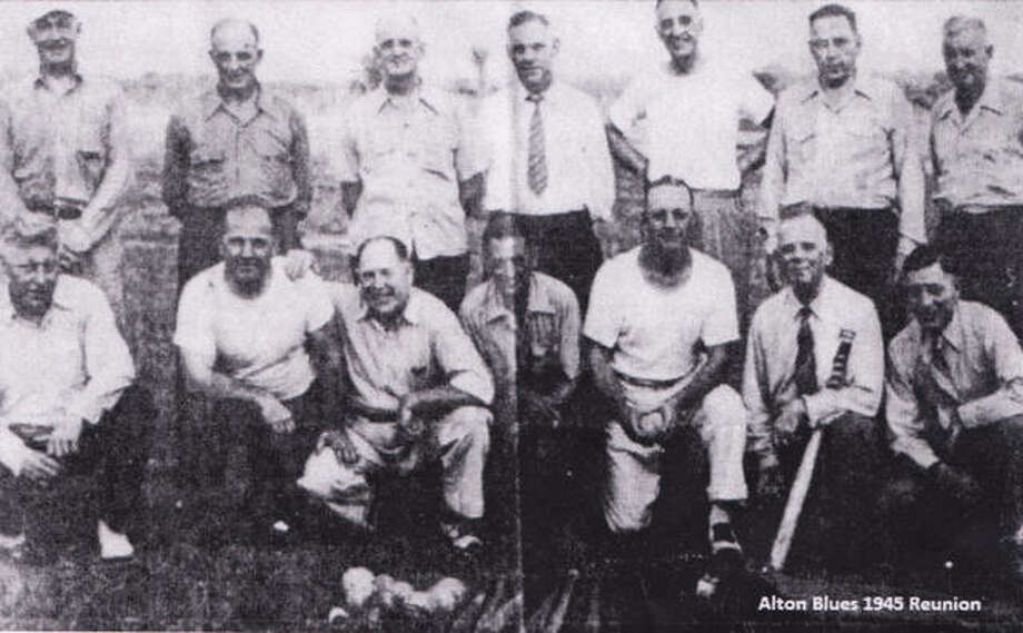 This old photo, provided by the Alton Museum of History & Art, shows what is believed to be a 1945 reunion of the Alton Blues team.