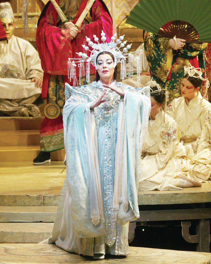 "Nina Stemme is shown during a performance of ""Turandot."" Her final performance, which is Saturday, will be broadcast into movie theaters as part of the Met's Live in HD program. Photo: Marty Sohl 