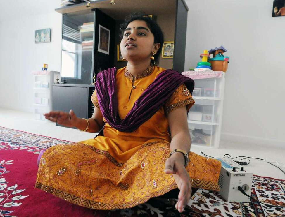 Indian musician and teacher, Vidya Subramanian, at her home in Clifton Park, N.Y., in April of 2009. (James Goolsby/Times Union)