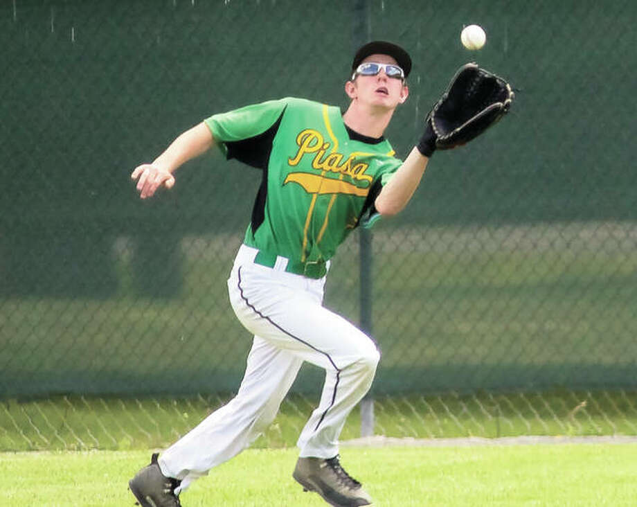 Southwestern outfielder Dakotah Corby runs down a deep fly ball in the right field gap Thursday in the Piasa Birds' 1-0 victory over Breese Central in the semifinals of the Vandalia Class 2A Sectional. Photo: Nathan Woodside / For The Telegraph