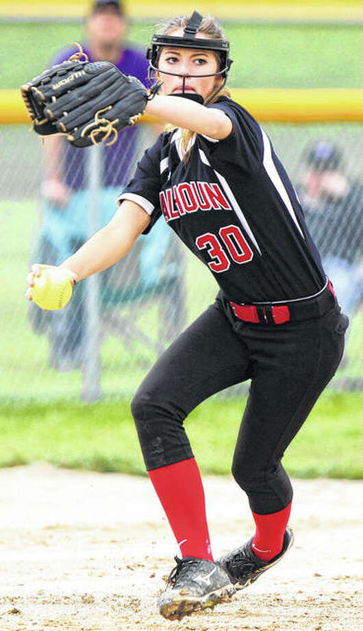 Calhoun sophomore third baseman Autumn Brannan makes throw to first during a game earlier this season. The Warriors are on their home field Saturday for the title game of the Calhoun Class 1A Sectional. Photo: Dennis Mathes / Journal-Courier