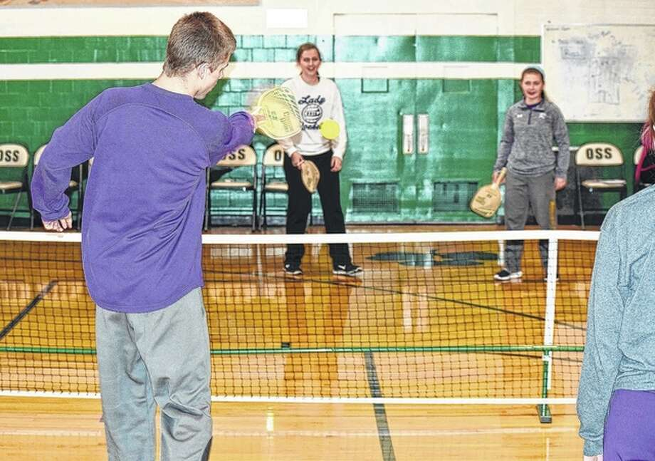 Routt High School and Our Savior School students pay a game of Pickleball for student appreciation day Thursday, part of Catholic School Week. Photo: Nick Draper | Journal-Courier