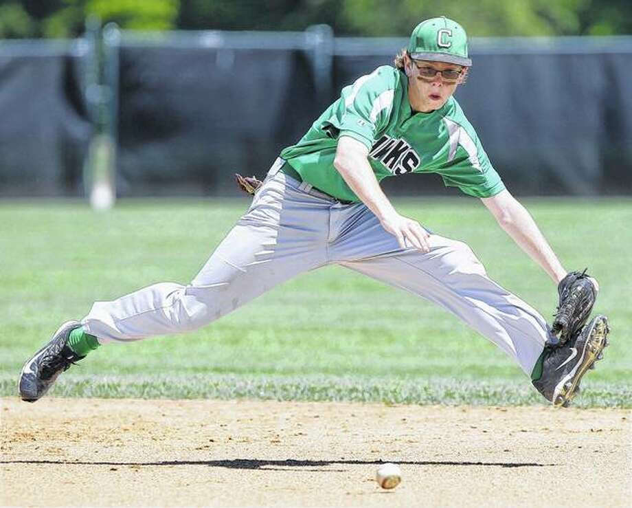 Carrollton second baseman Kyle Waters races to field a hard grounder against Valmeyer in the championship game of the Greenville Class 1A Sectional on Saturday at Greenville College. Photo: Dennis Mathes | Journal-Courier