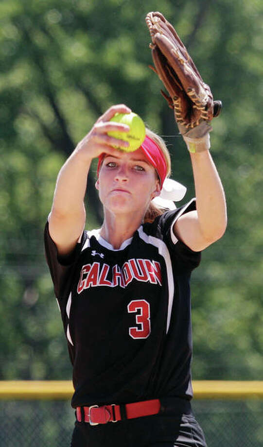 Calhoun's Grace Baalman pitches during her eight-inning no-hitter to beat Camp Point Central in the Calhoun Class 1A Sectional on Saturday in Hardin. Photo: James B. Ritter / For The Telegraph