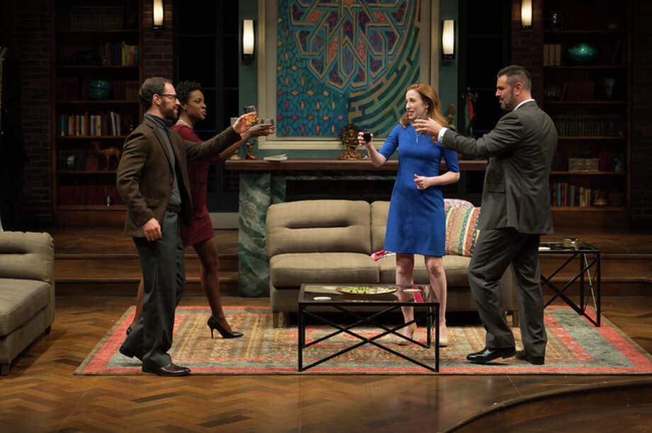 """Disgraced"" raises questions about race, gender, religion, group and self-identity, and forces everyone to confront their own biases. What starts off as an ordinary dinner party with friends soon morphs into the verbal equivalent of a street fight. This 2013 Pulitzer Prize winner for drama is playing through Sunday, March 6, at the Repertory Theatre of St. Louis, located on the campus of Webster University. Photo: Peter Wochniak 