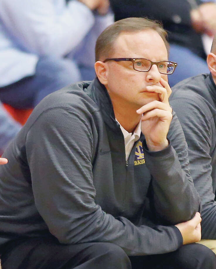 Civic Memorial head coach Doug Carey watched his team's season come to and end Tuesday night at the hands of Belleville Althoff in the semifinals of the Triad 2A Regional. Photo: Billy Hurst File Photo | For The Telegraph