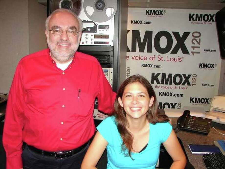 Al Stevens with former student Caitlin Anderson, who, upon graduation from Lewis and Clark Community College, worked with Stevens at KMOX.