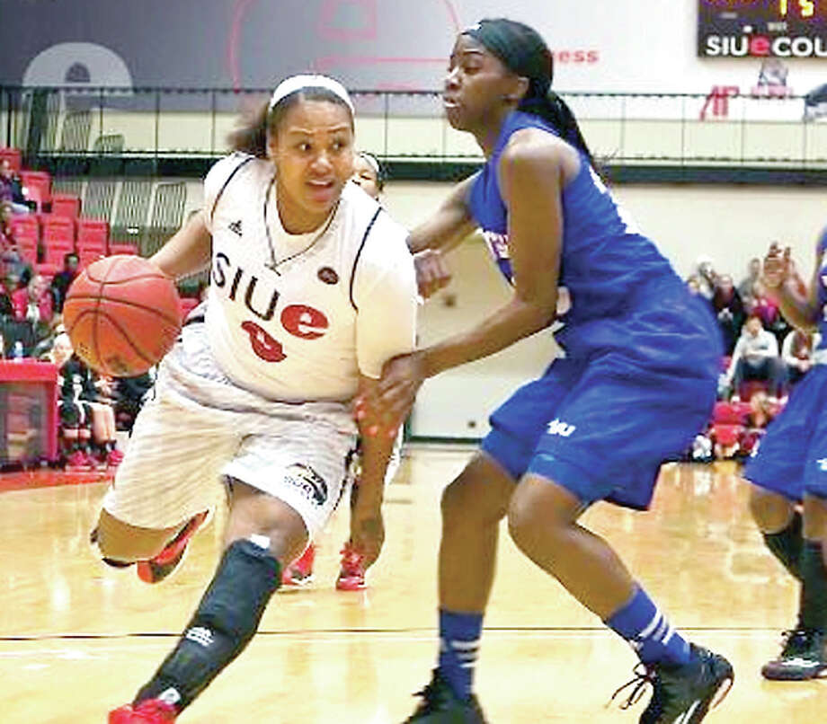 SIUE's Shronda Butts, left, has been named the Ohio Valley Conference Player of the Year. Teammate Coco Moore was named co-Defensive Player of the Year.