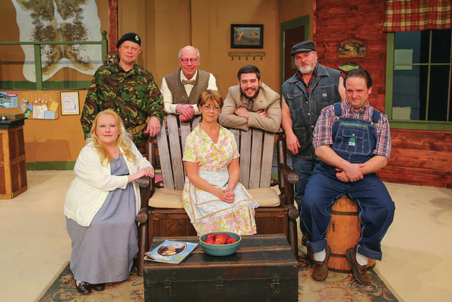 "From front left, Robyn Couch, Carol Hodson, and Steven Harders, and from back left, Gary Wilson, David Boase, Andrew Richards and Jeff Pruett will appear in Alton Little Theater's production of ""The Foreigner."""