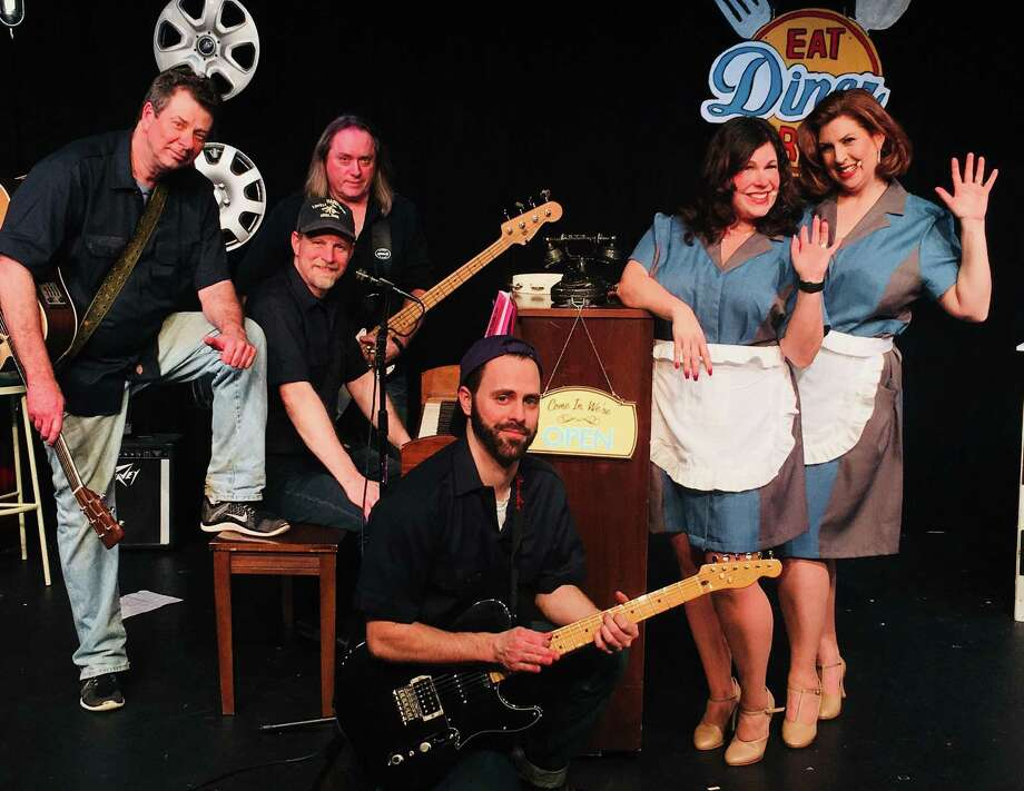 "The cast of ""Pump Boys and Dinettes,"" include, front, Tony Galli; back,  from left, Tim Barone, TJ Thompson, Jamie Sherwood, Julie Lemos and Cindy Lesser. Photo: Photo Courtesy Of Connecticut Cabaret Theatre"