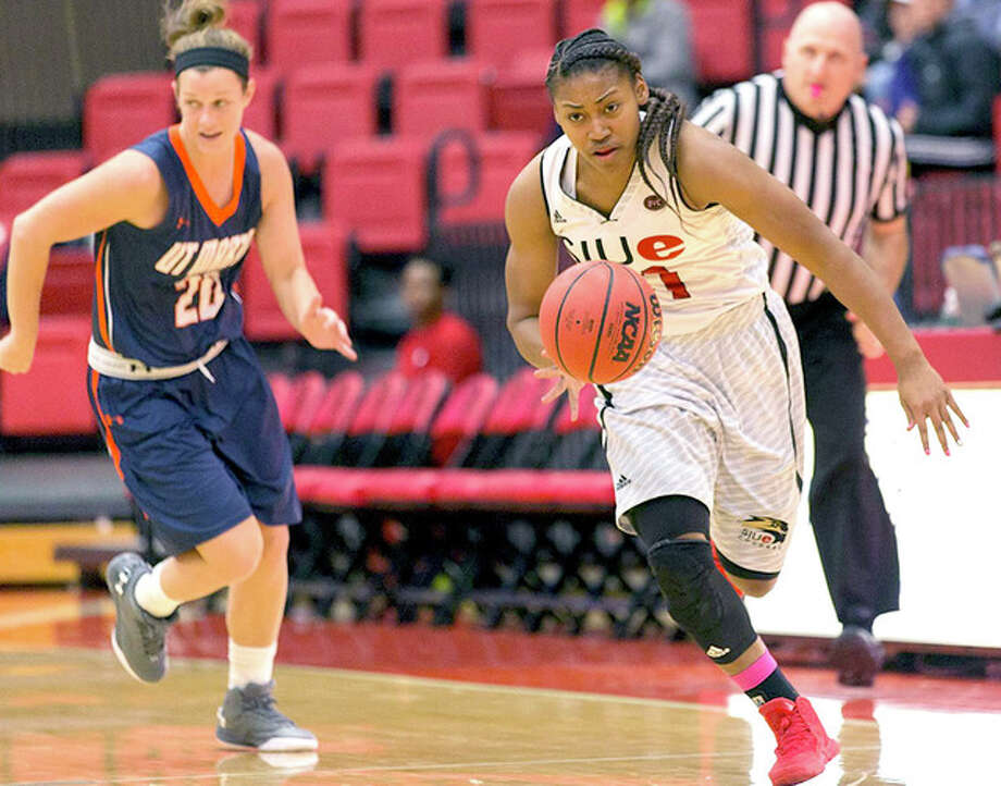 Donshel Beck of SIUE scored 20 points in the Cougars' loss to Belmont Friday in the Ohio Valley Tournament in Nashville, Tenn. Photo: SIUE Athletics