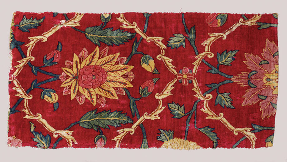 """Fragment of a Mughal Court Carpet with Compartment Layout on Red Ground,"" mid-17th century; Indian, Mughal period (1526–1858), Reign of Shah Jahan, (1627–1657); wool and silk; 22 15/16 x 11 inches; Saint Louis Art Museum, Gift of James F. Ballard 73:1929 Photo: Courtesy Of The Saint Louis Art Museum 