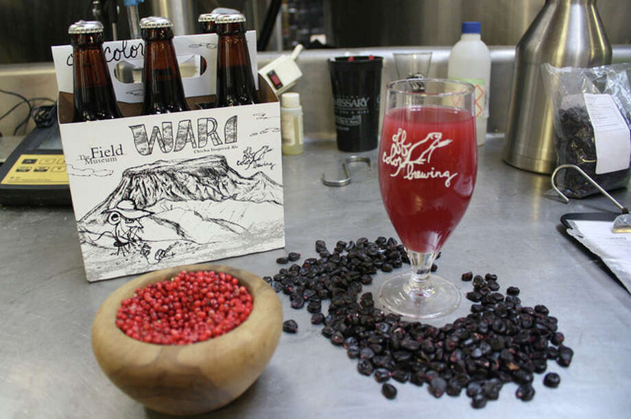 This photo provided by the Field Museum in Chicago shows a special issue beer made with Peruvian pepper berries and purple corn. Brewers in the recent craft-beer booms have turned to ancient civilizations obscure, millennia-old recipes to set themselves apart.