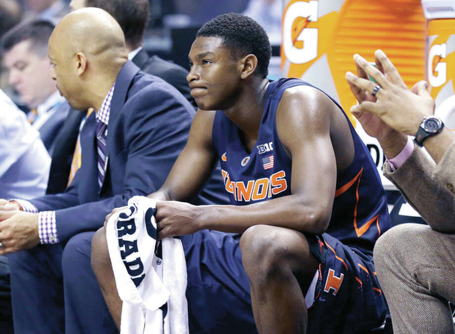 Illinois' Jalen Coleman-Lands (5) reacts on the bench during the second half of an NCAA college basketball game against the Purdue in the quarterfinals at the Big Ten Conference tournament, Friday, March 11, 2016, in Indianapolis. Purdue won 89-58. (AP Photo/Michael Conroy) Photo: AP