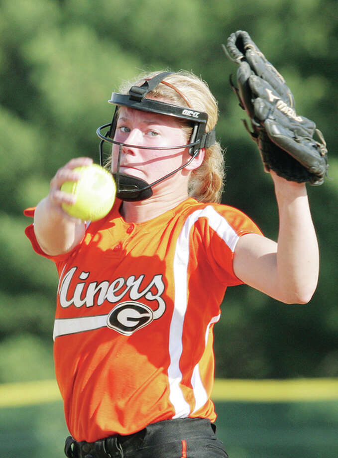 Gillespie pitcher Addison Bryant pitcher fired a five-inning no hitter in Monday's 16-0 victory over Ramsey on the opening day of prep softball in Illinois. Photo: James Ritter File Photo | For The Telegraph