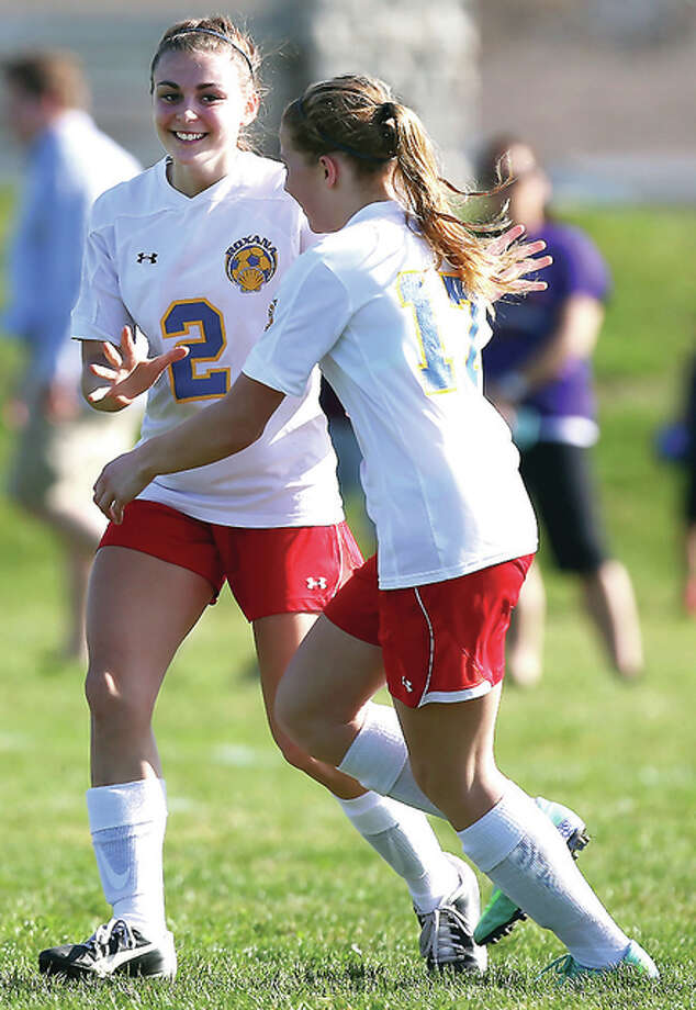Roxana's Abby Kurth, left, and Haley Milazzo, right, celebrate Kurth's goal Tuesday against Civic Memorial at Wood River Soccer Park. Photo: Billy Hurst | For The Telegraph
