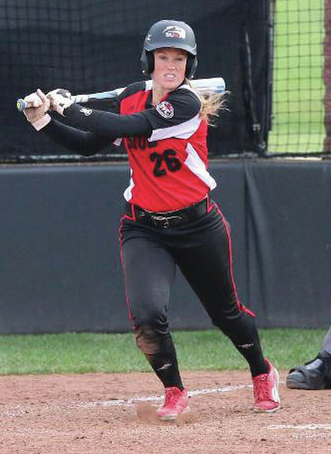 SIUE's Jordan LaFave heads to first base after making contact during Wednesday's game against Drake at Cougar Field in Edwardsville. Photo: SIUE Athetics