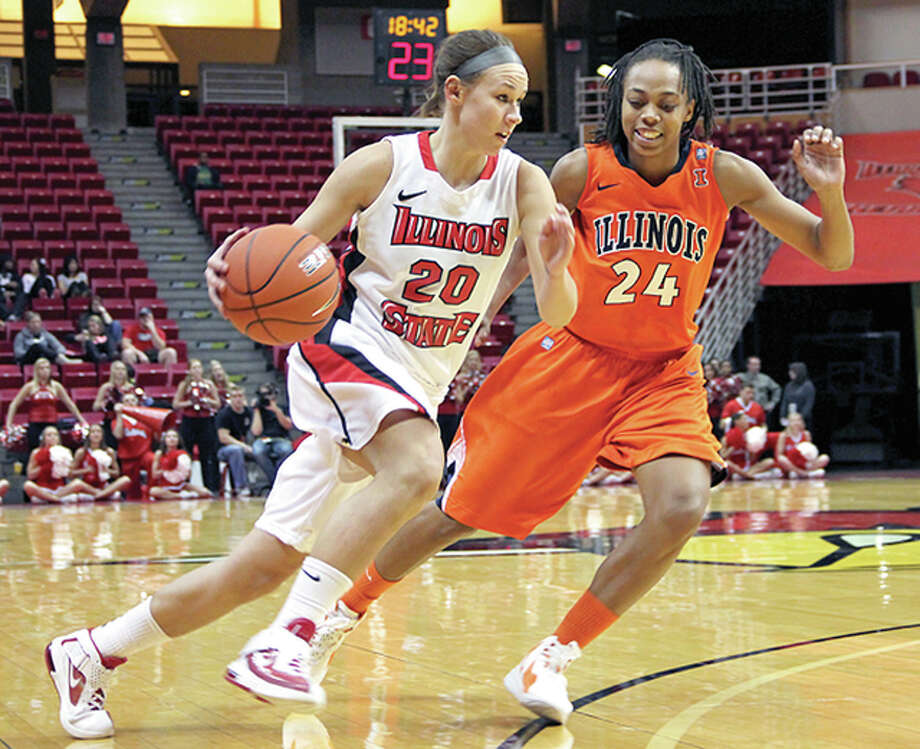 Katie Broadway (20) will be the guest speaker at this year's Exchange Club Players of the Year Banquet Wednesday at the Atrium Hotel in Alton. She is shown in action during her playing career at Illinois State University. Photo: Leah Gericke, ISU J-News Photo