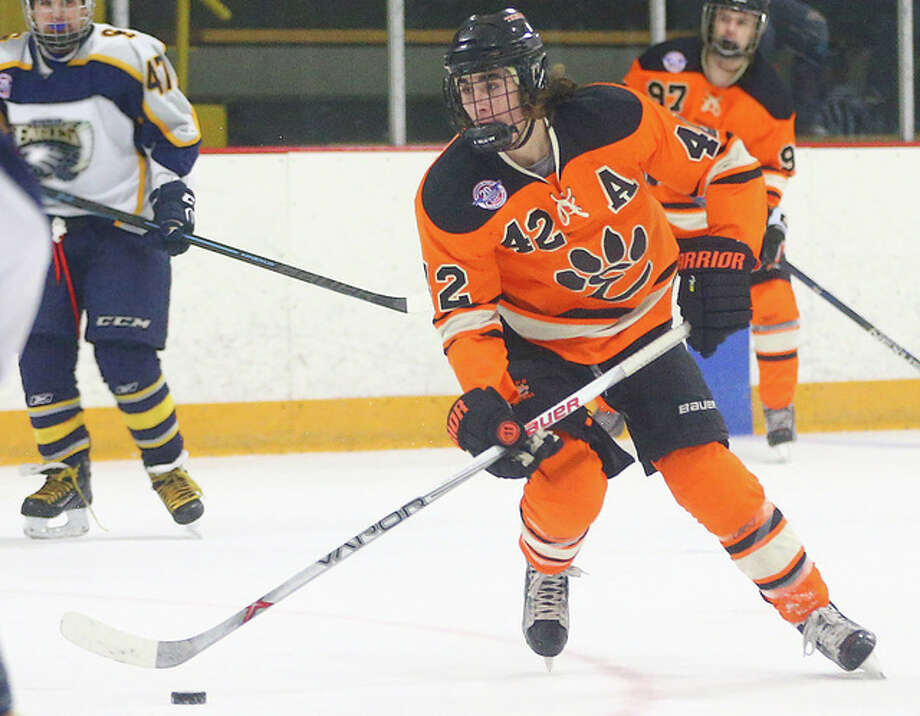 Edwardsville's Jake Aurelio (42) scored two goals and an assist in Saturday's 9-1 victory over Marriotts Ridge, Maryland at the USA Hockey Toyota High School National Hockey Tournament in Reston, Virginia. Photo: Billy Hurst File Photo | For The Telegraph