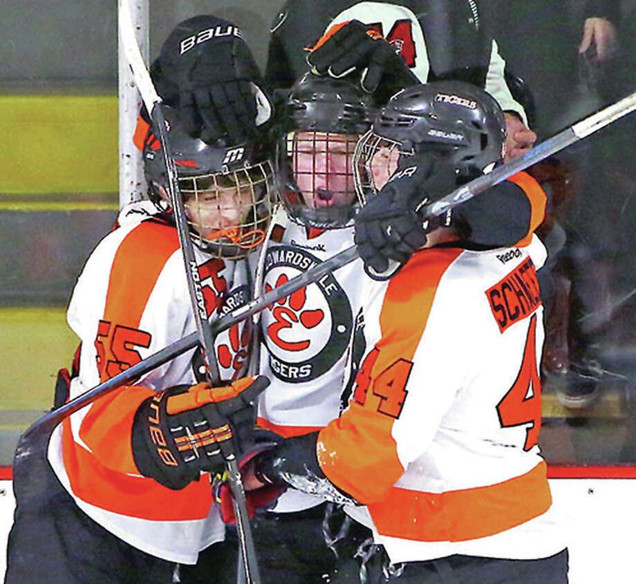 Edwardsville's Tyler Hinterser, center, scored a goal early in the third period and then in the final minute in his team's 4-2 loss to Brookings, South Dakota Sunday in the quarterfinals of the USA Hockey High School Nationals in Reston, Virginia. Photo: Billy Hurst File Photo | For The Telegraph