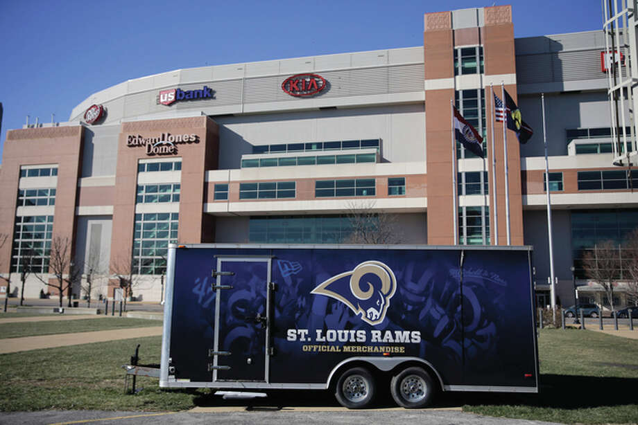 A merchandise trailer sitting outside the Edward Jones Dome, former home of the St. Louis Rams. For weeks, a steady succession of moving vans has been hauling away whatever the Rams wanted to take to the West Coast. By Thursday, the job should be finished and the franchise will officially close shop in St. Louis after 21 seasons. Photo: Jeff Roberson | AP File Photo