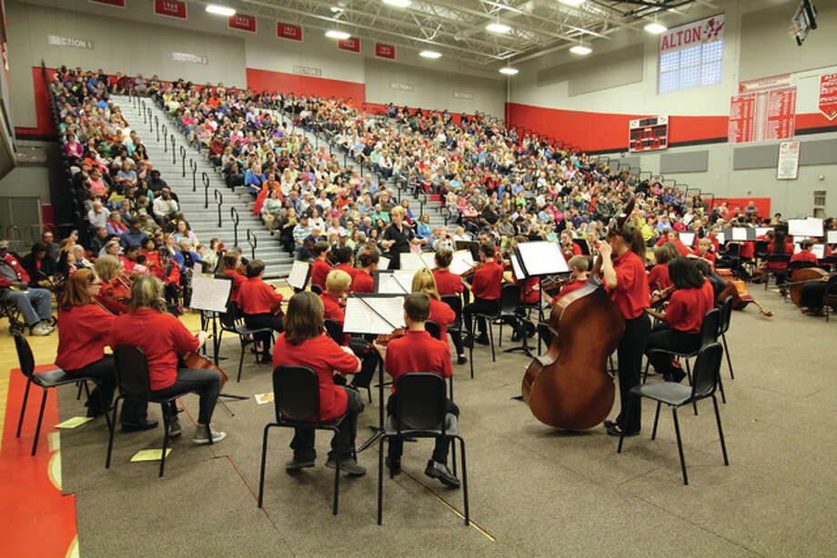 "More than 350 Alton school district orchestra members participated in this year's Stringsation concert Tuesday at the Alton High School gym. Performances ranged from ""Star Wars"" to Beethoven. For The Telegraph"