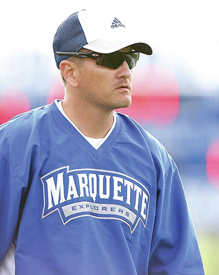 Marquette soccer coach Steve Mitchell's team defeated Breese Mater Dei 1-0 Thursday. Photo: Telegraph File Photo