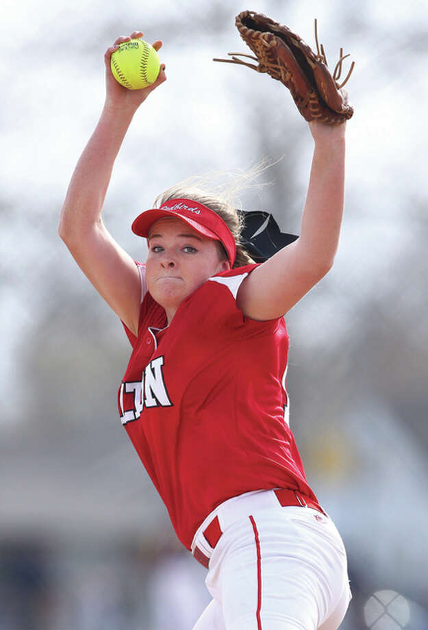 Alton's Brittany Roady delivers a pitch during Tuesday's victory over the East Alton-Wood River Oilers in Wood River. Roady is back as the Redbirds ace from a 20-15 team that returns its entire lineup. Photo: Billy Hurst | For The Telegraph