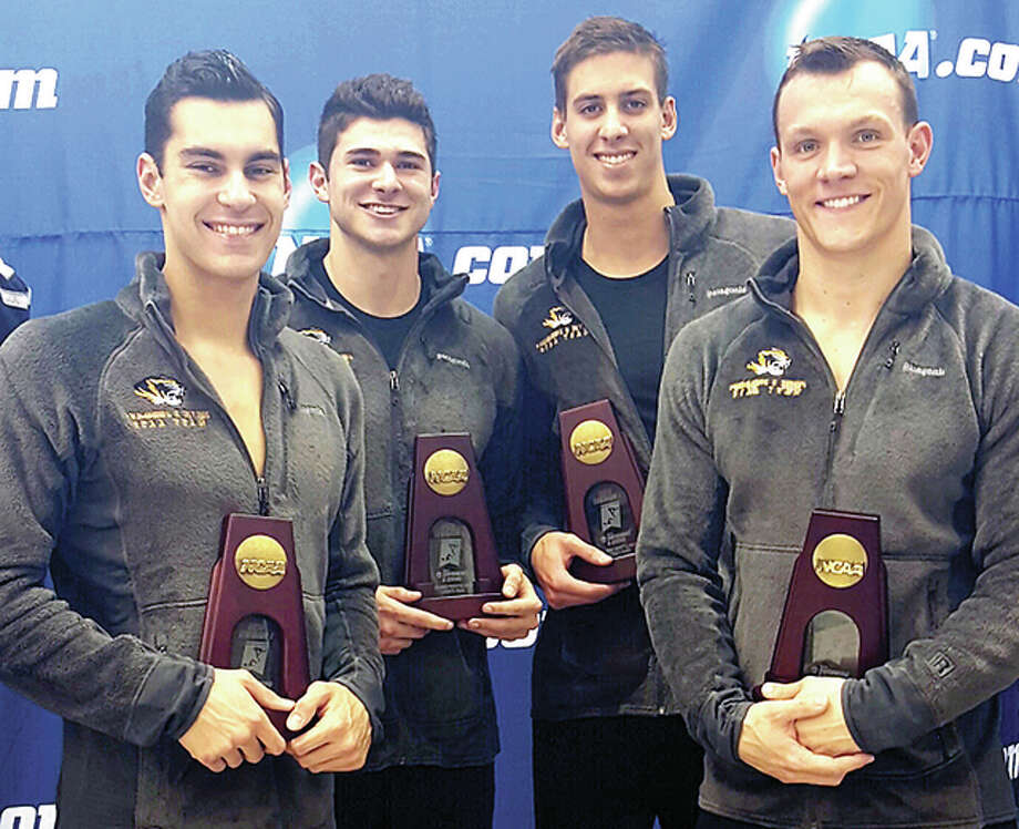 Godfrey native and Metro East Lutheran High grad Christian Aragona, second from left, became a first-team All-American for the second straight year when he and his University of Missouri 200 freestyle relay team finished forth at the NCAA Championships last week in Atlanta. from left are Andrew Sancoucie, Aragona, Michael Chadwick and Matt Margritier. Photo: NCAA Photo