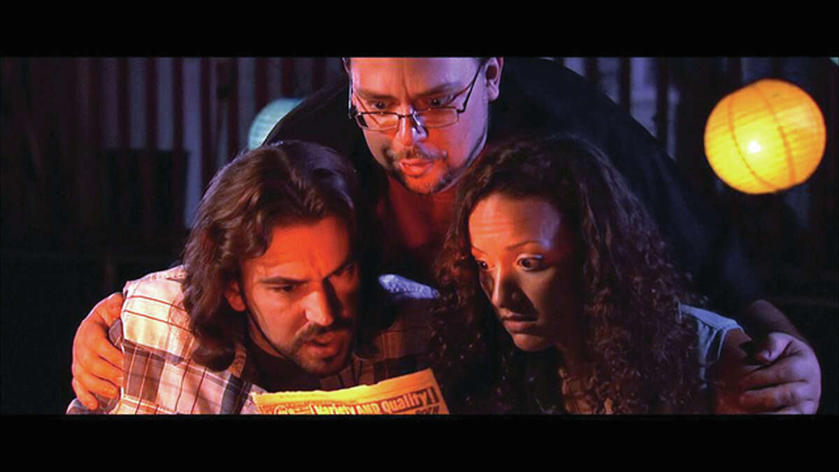 """Chris (Jason Contini), bottom left, Brian (Nicholas J. Hearne), top, and Anne (Jessica Laney), bottom right, in """"Four Color Eulogy,"""" a film shot by regional actors entirely in Illinois and Missouri."""