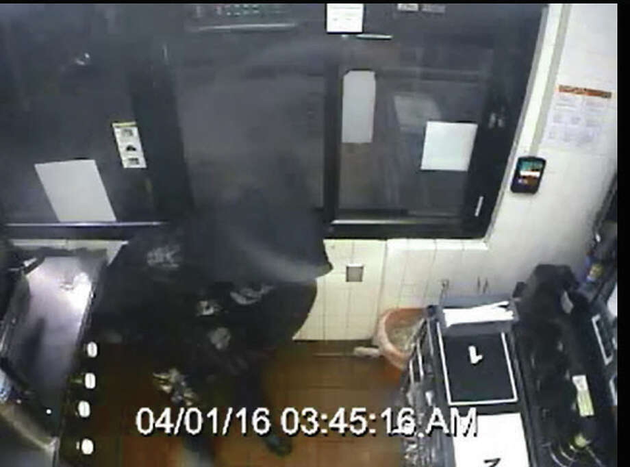 The suspect in an armed robbery at an Edwardsville McDonald's entered the restaurant through the drive-thru window at about 3:45 a.m. Friday morning.
