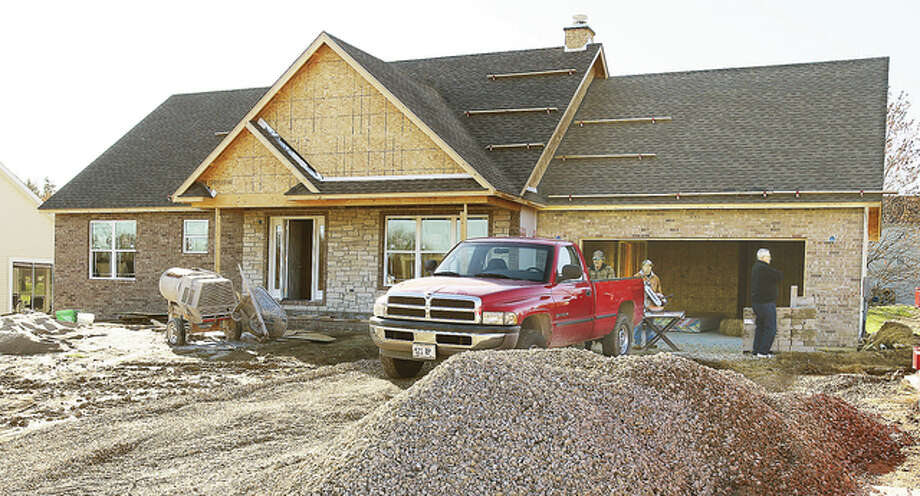 One of the homes being built in the Eagle Pointe subdivision in Godfrey is nearing completion.