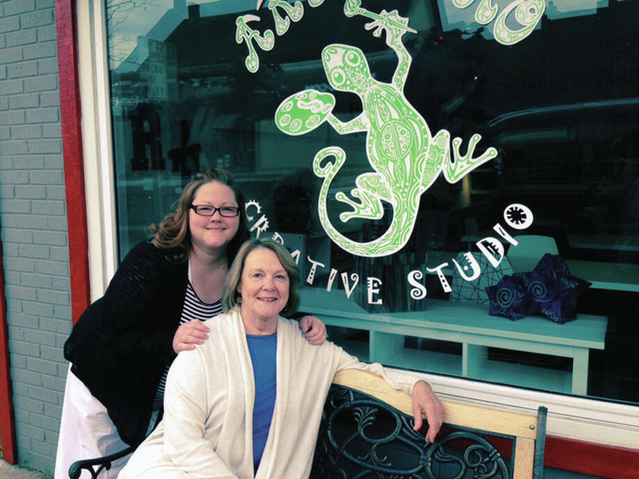 Cory Hollerbach, left, and her mother, Robin Springer, right, both Southern Illinois University Edwardsville alumni, have opened Art Gecko Creative Studio, in downtown O'Fallon, Illinois. Photo: For The Telegraph