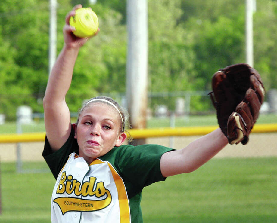 Southwestern pitcher Bailee Stahl limited Roxana to an unearned run on four hits and one walk while striking out four in Tuesday's 7-1 South Central Conference victory. Photo: Billy Hurst File Photo | For The Telegraph