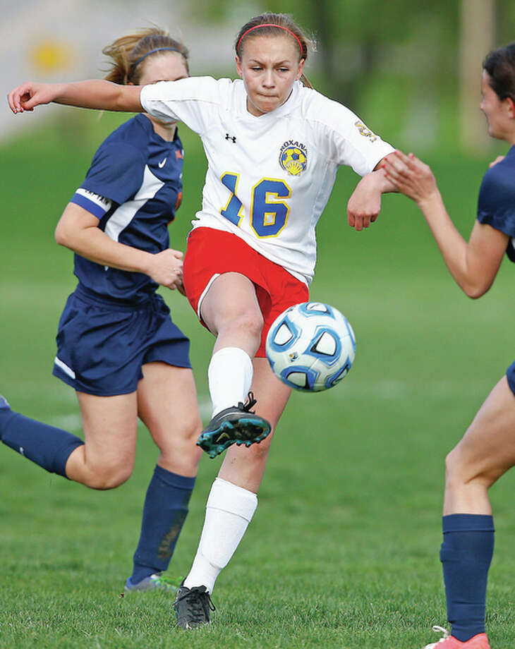 Roxana's Emma Lucas scored a pair of goals Tuesday in her team's 3-0 nonconference victory over Father McGivney High at the Wood River Soccer Park.