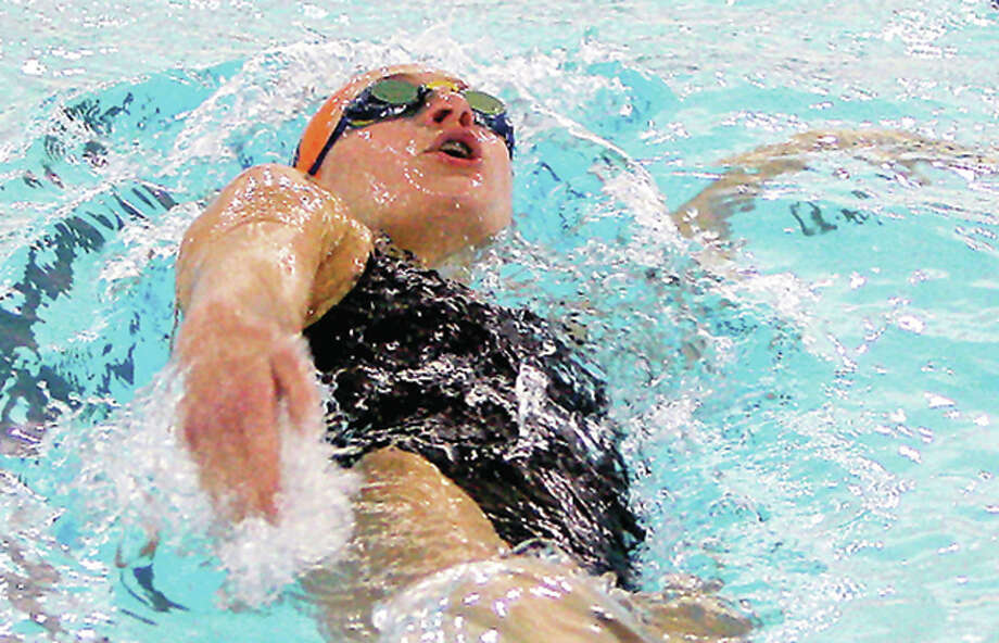 Bailey Grinter of the Edwardsville Breakers finished eighth in the finals of the 100-yard backstroke Wednesday evening at the YMCA Short Course Nationals in Greensboro, North Carolina. Photo: Telegraph File Photo