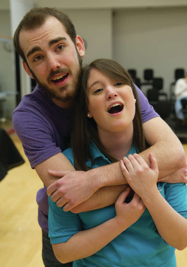 "Musical talents Brandon Jansen and Sarah Paitz practice for their delightful rendition of ""I Do! I Do!"" For The Telegraph"